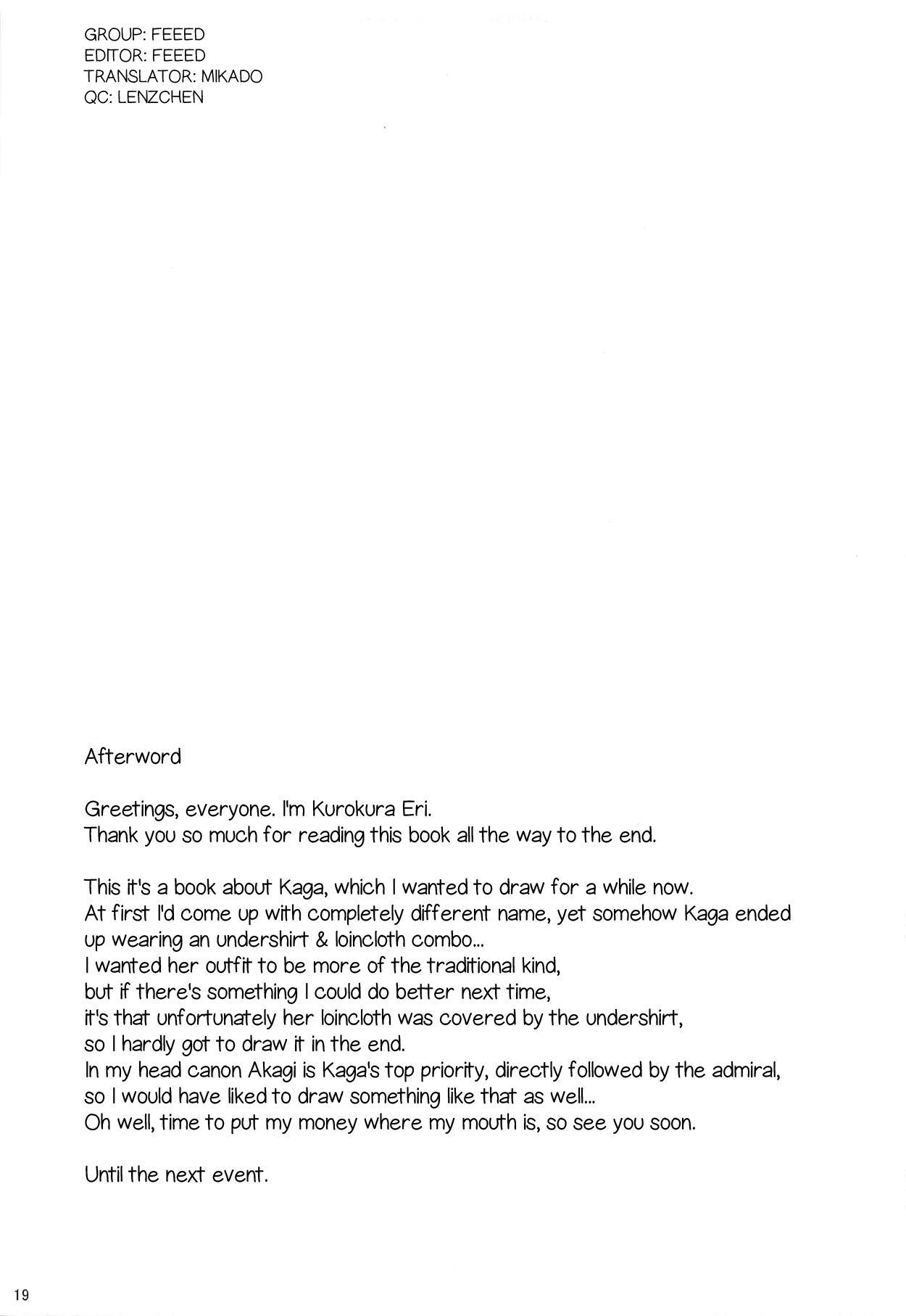 (C90) [Kanten Garas (Kurokura Eri)] Kaga-shiki Stress Kaishouhou | Kaga-style Stress Relief (Kantai Collection -KanColle-) [English] [Feeed] 19