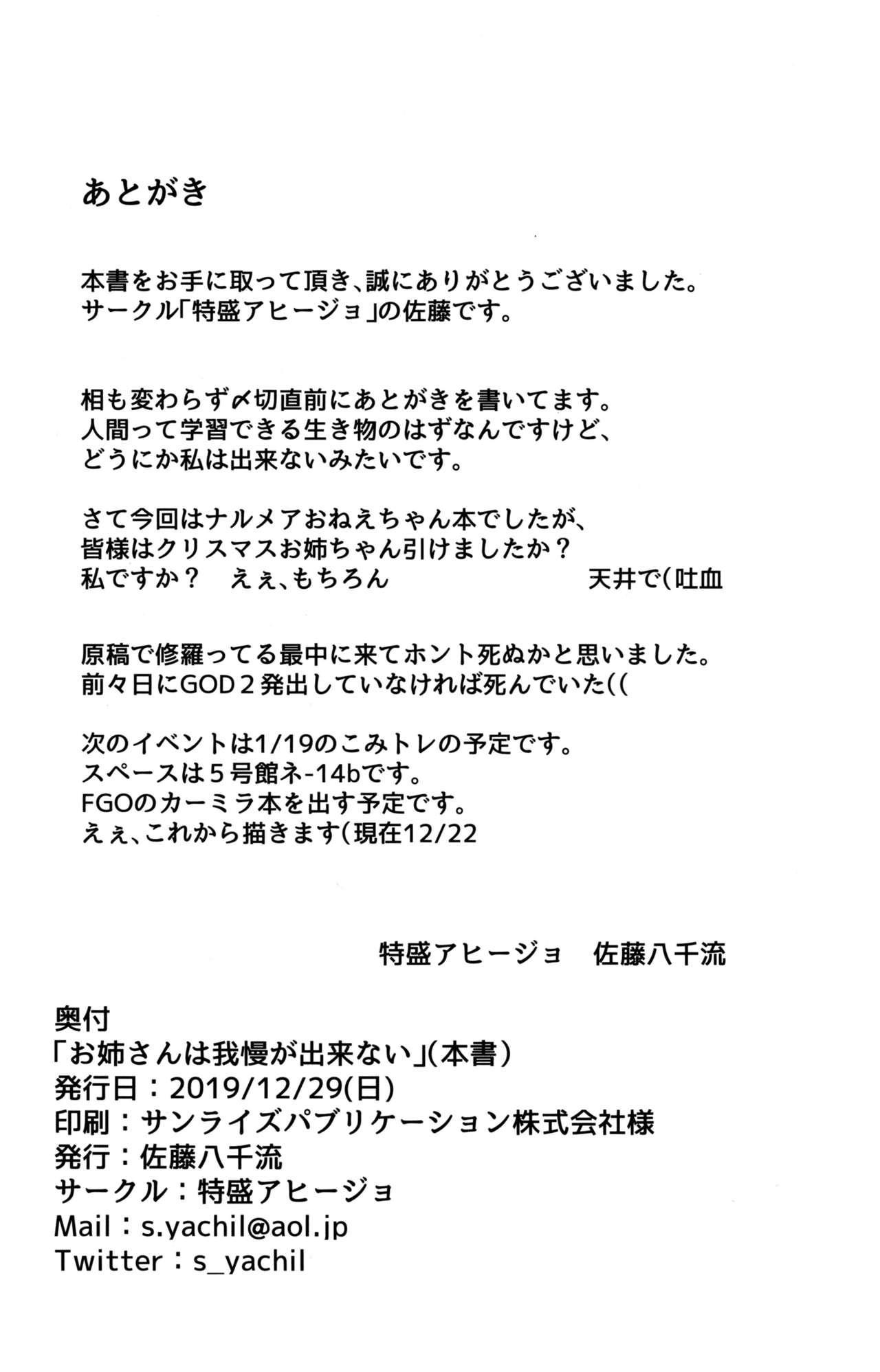 Onee-san wa Gaman ga Dekinai 19