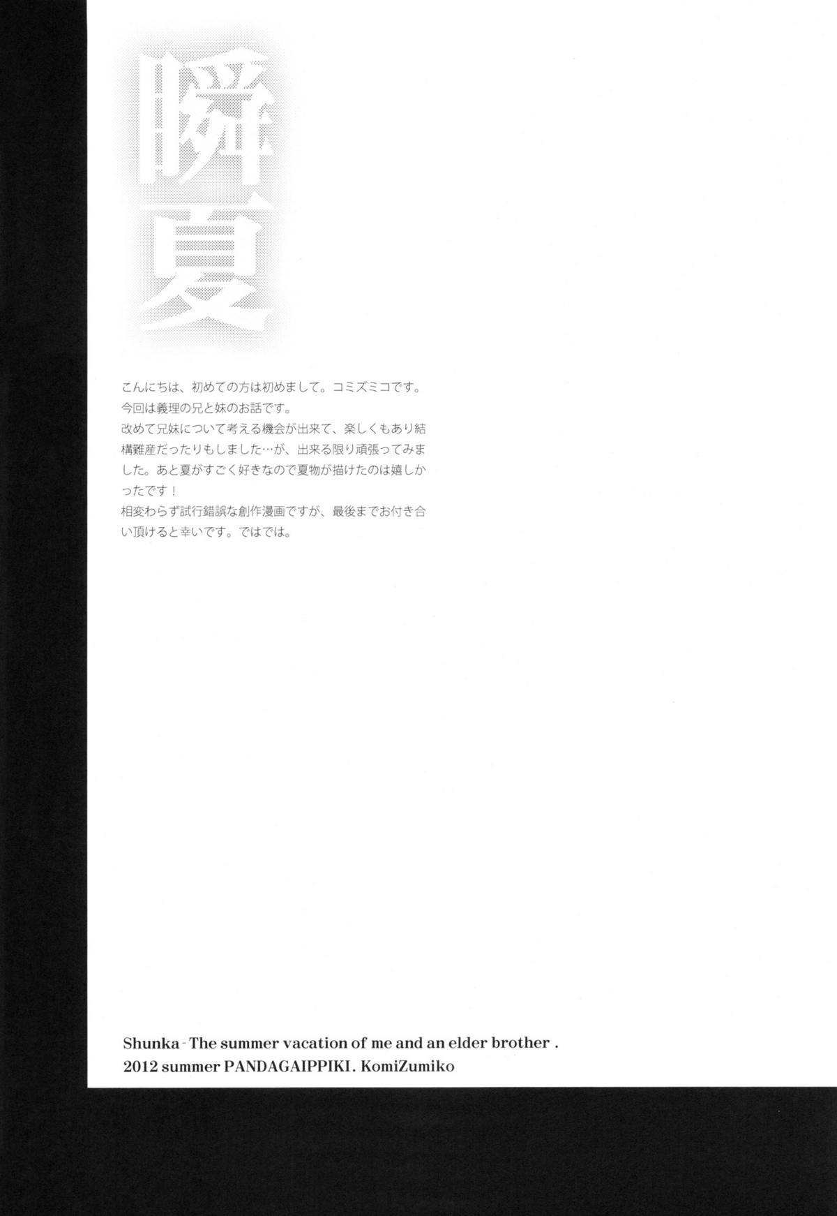 (C82) [Panda ga Ippiki. (Komizu Miko)] Shunka - Watashi to Ani no Natsuyasumi | One Second of Summer - My Brother's and My Summer Vacation [English] [RedBlueGreen] 3
